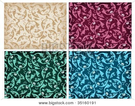 Set of damask patterns