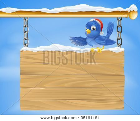 Santa Hat Bluebird Snowy Sign