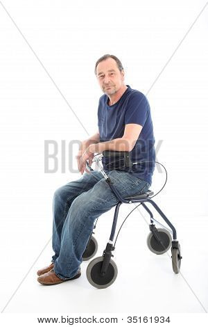 Satisfied Man Resting On A Health Walker