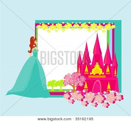 Beautiful Young Princess In Front Of Her Castle - Abstract Frame