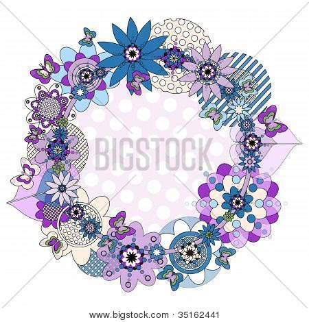 Flower Wreath And Butterflies