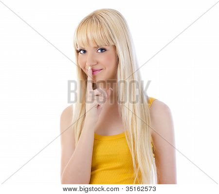 Woman Giving Silence Gesture
