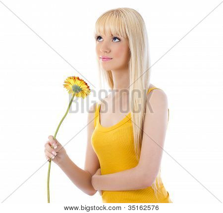 Woman Holding Flower And Looking Up