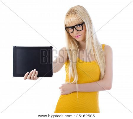 Woman Showing Tablet Computer Screen Smiling Wearing Glasses
