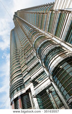 Petronas Tower Side Up Angle Kuala Lumpur