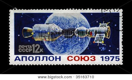 Ussr-Circa 1975:Stamp Printed In Ussr (russia) Shows Experimental Flight Of Soyuz,Apollo Spaceship
