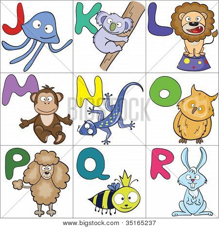 Alphabet With Cartoon Animals