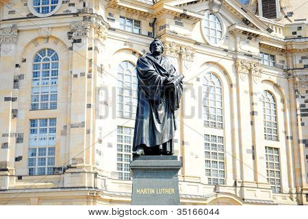 Statue of Martin Luther in front of the lutheran church in Dresden