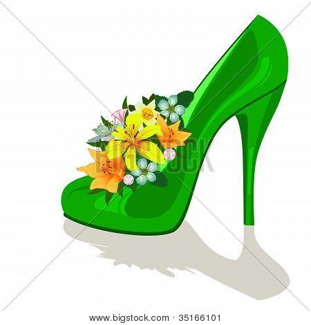Flowers in a womens shoe