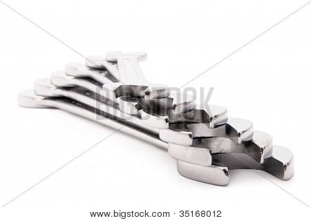 Steel Spanners On Each Other.