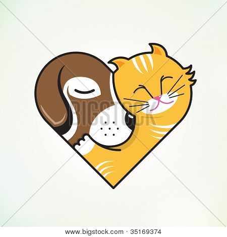 Cat and dog embrace love