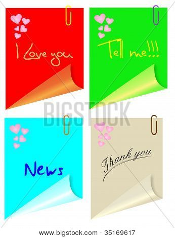 Post color con corazones y varias frases, vector