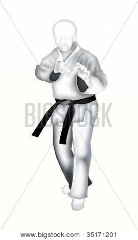 Judo : Young Man Martial Artist in Defense Position