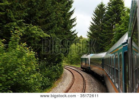 Train Travelling Through Woods