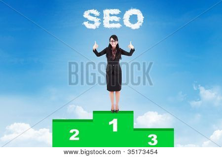 Happy Businesswoman With Her First Rank Website