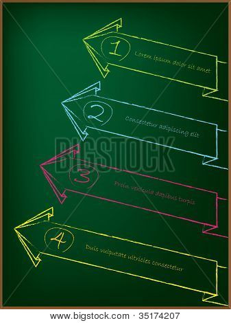 Advertising Arrow Label Set On Chalkboard