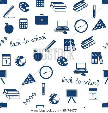 Seamless School Icons Pattern