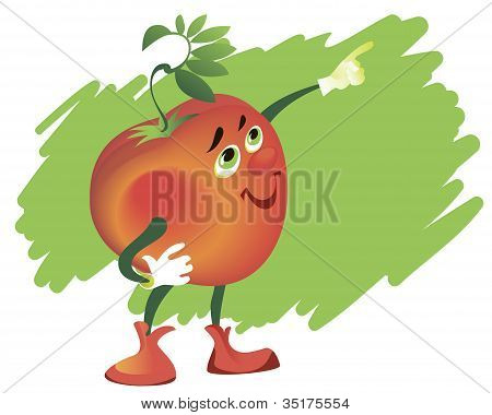 Comic Tomato In White Gloves