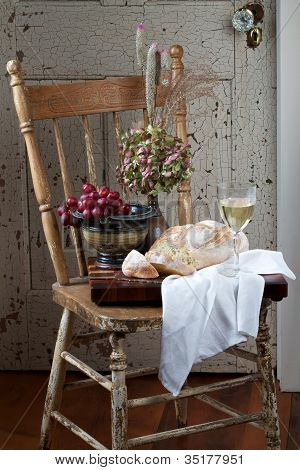 French Country Bread, Grapes, And Wine Still Life