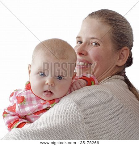 Baby Looks Over Mother's Shoulder