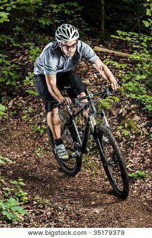 Mountainbiker in a downhill
