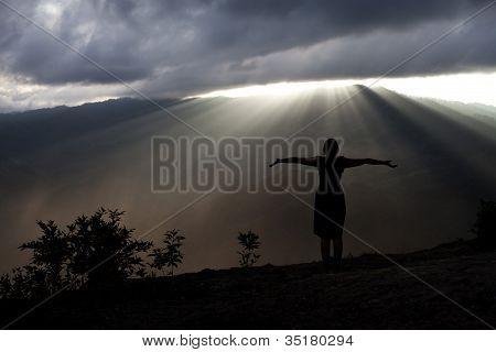 Soaking sun rays silhouette