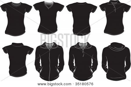 Vector Set Of Black Female Shirts Template