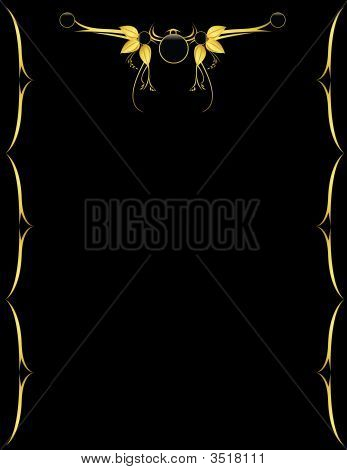 Gold And Black Leaf Background