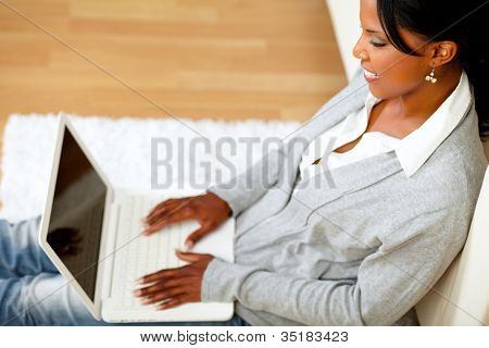 Afro-american Young Woman Browsing The Internet