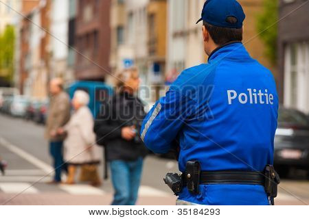 European Police Blue Uniform Back One