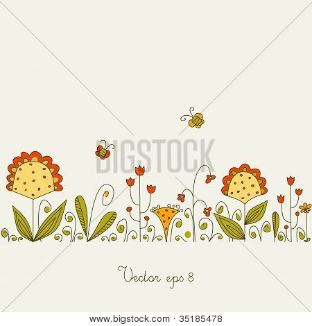 Glade With Grass And Flowers