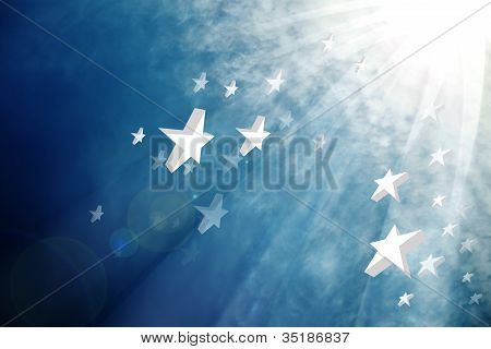 Stars and beam from the sky