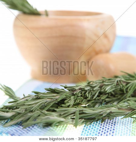 Rosemary In A Wooden Pounder