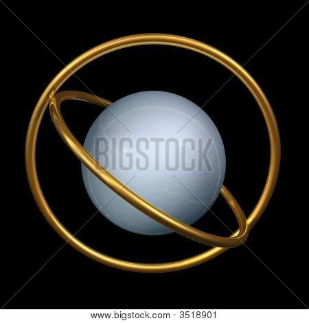 Esfera de metal e anéis de ouro