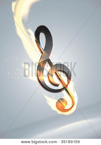 Music note in flame
