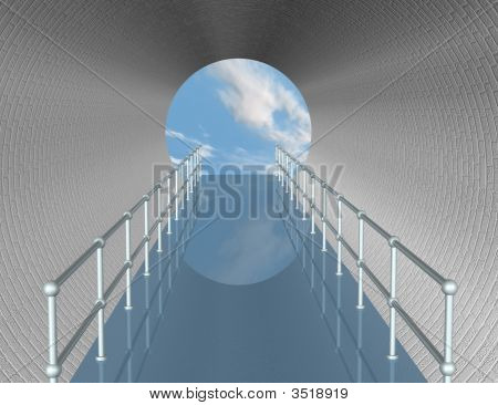 Walkway In Tunnel