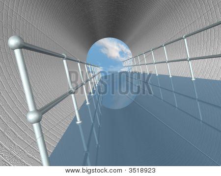 Walkway In Tunnel