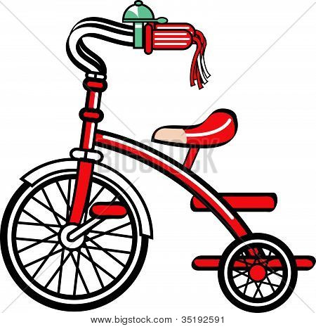 Tricycle or Trike Retro Vintage Clip Art