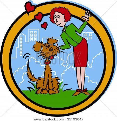 Dog Walker or Pet Sitter Cartoon Clip Art