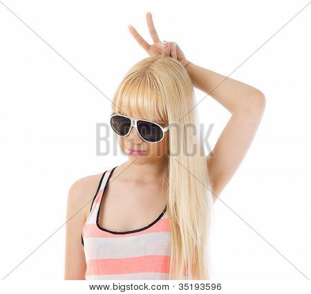 Woman Using Her Fingers As Bunny Ears