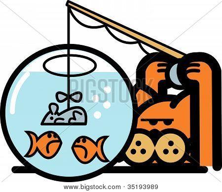 Gato Clip-Art a pesca de peixes na bacia