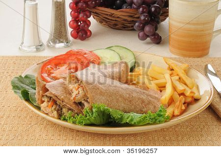 Salmon Wraps With French Fries