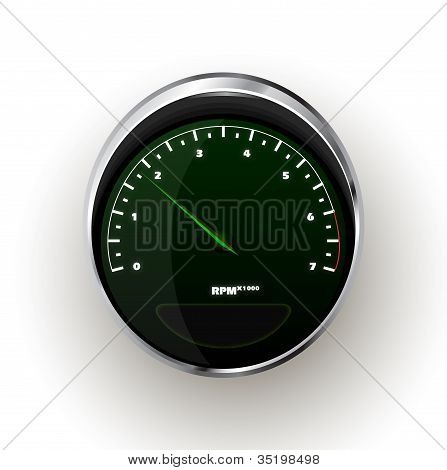 Tacómetro realista Vector