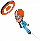 stock photo of cannonball  - Isolated illustration of Cannonball businessman reaching target - JPG