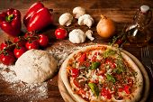 stock photo of hot fresh pizza  - fresh italian pizza - JPG