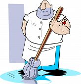 stock photo of clip-art staff  - Janitor or Janitorial Clip Art of Man Cleaning with Mop - JPG