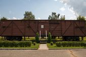 image of deportation  - memorial wagon  museum near station Skrunda Latvia train wagon with in 1941 and 1949 deported Latvian people to Siberia - JPG