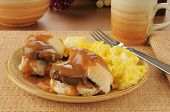 image of biscuits gravy  - Sausage and biscuits with gravy and scrambled eggs - JPG