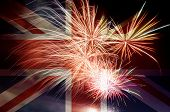 Uk Union Jack Flag With Fireworks