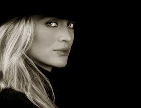 pic of beautiful woman  - Beautiful Blond fashion Model On Black Ground - JPG